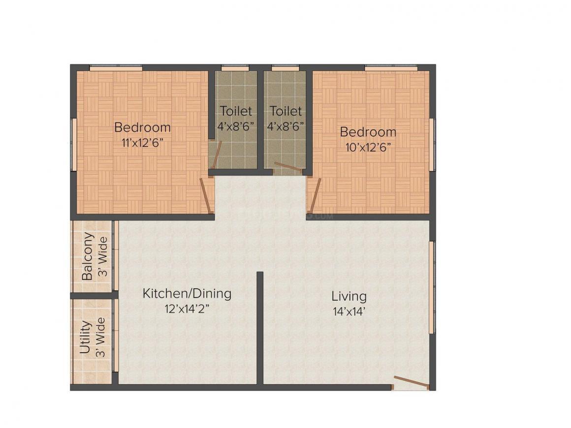 Floor Plan Image of 1000.0 - 1350.0 Sq.ft 2 BHK Apartment for buy in MR Residency