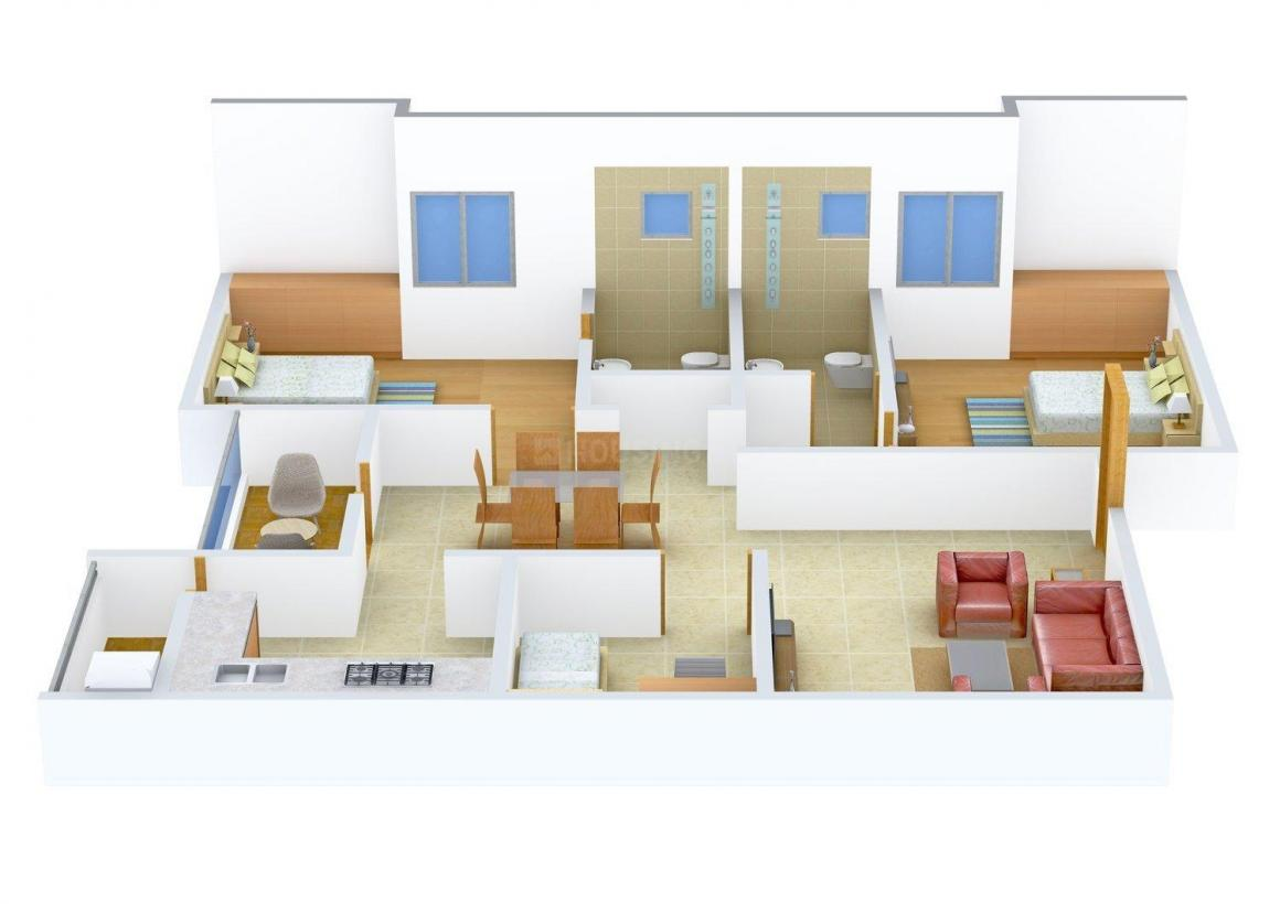Floor Plan Image of 1344 - 1568 Sq.ft 2.5 BHK Apartment for buy in Maxis Sai Sarvam