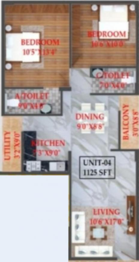 Lalithya Sindu Residency Floor Plan: 2 BHK Unit with Built up area of 1125 sq.ft 1