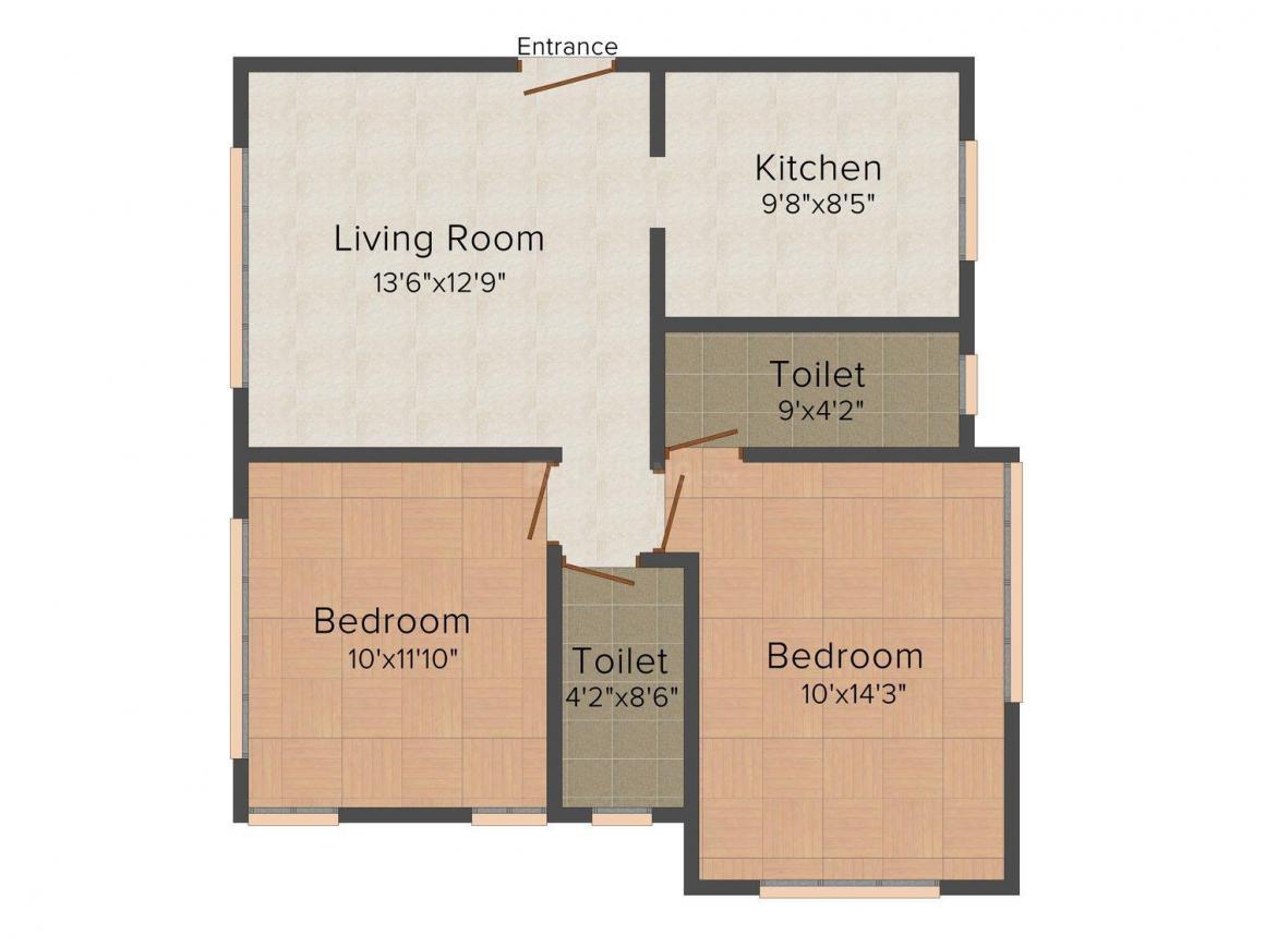 Floor Plan Image of 1145.0 - 1309.0 Sq.ft 2 BHK Apartment for buy in Sukh Sagar