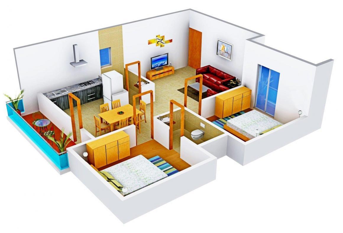 Floor Plan Image of 1073.0 - 1395.0 Sq.ft 2 BHK Apartment for buy in Aashrayaa Crystal