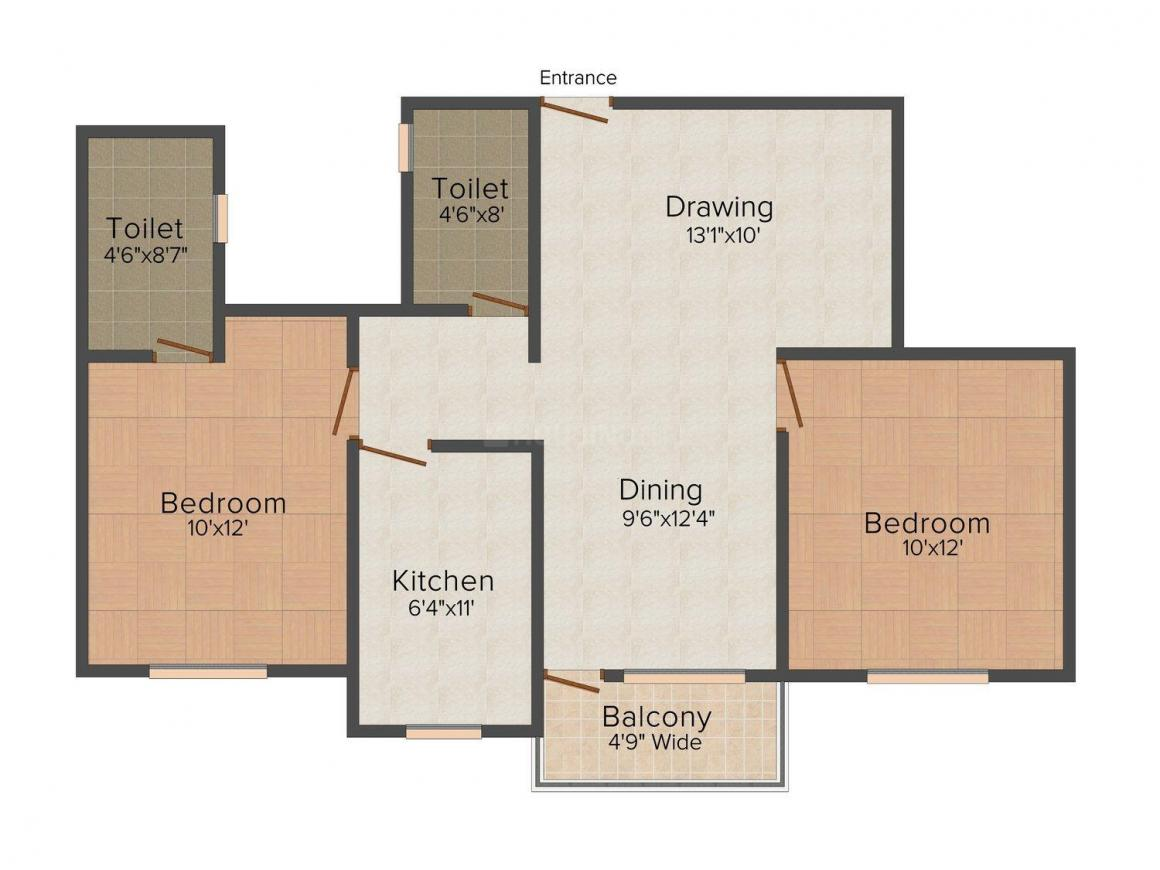 Floor Plan Image of 968 - 1416 Sq.ft 2 BHK Apartment for buy in Srinath Amur