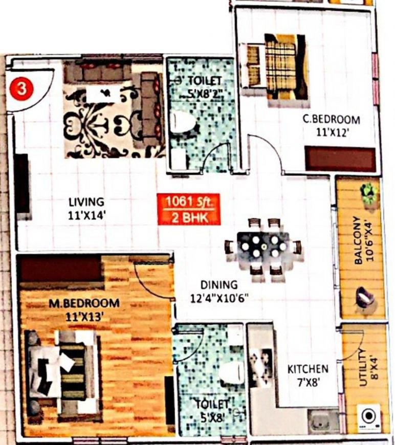 Star Gold Sree Sai Heritage Floor Plan: 2 BHK Unit with Built up area of 1061 sq.ft 1