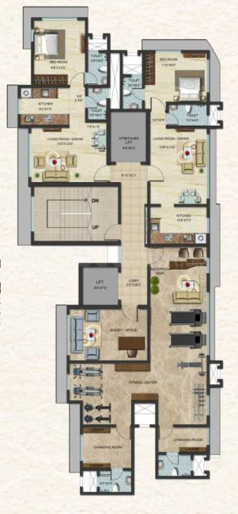 Town Swaroop Marvel Gold Floor Plan: 1 BHK Unit with Built up area of 384 sq.ft 1