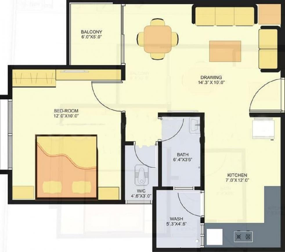 Parshwanath Smruti Floor Plan: 1 BHK Unit with Built up area of 765 sq.ft 1