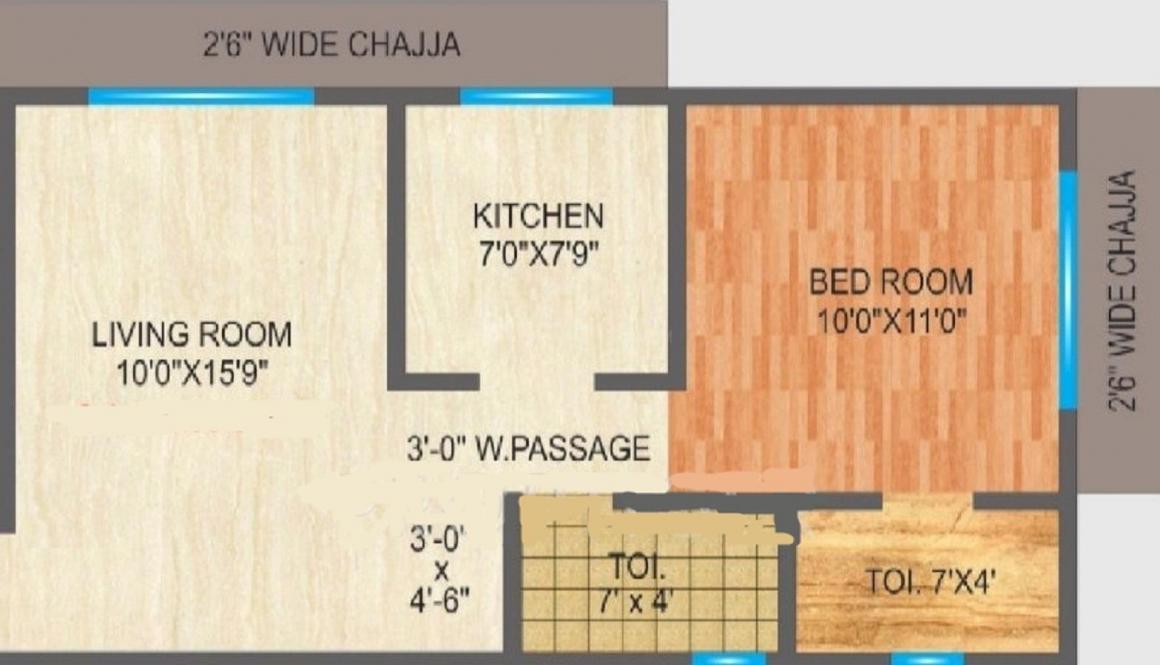 Navkar Manisha CHS LTD Floor Plan: 1 BHK Unit with Built up area of 381 sq.ft 1