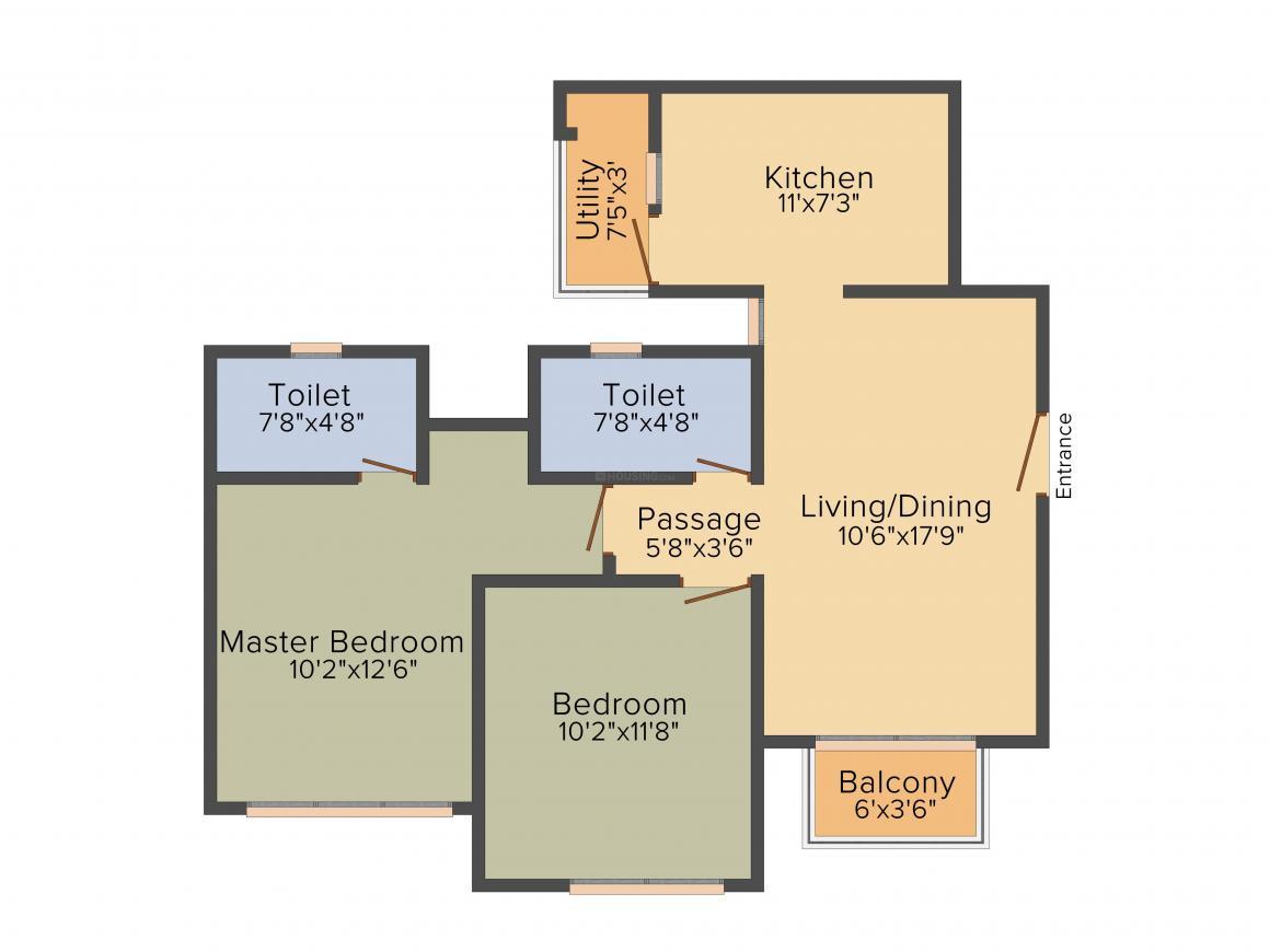 Akshar Tulsi Status Floor Plan: 2 BHK Unit with Built up area of 1107 sq.ft 1