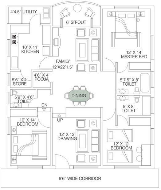 Floor Plan Image of 1300 - 1800 Sq.ft 2 BHK Apartment for buy in Skil Manasarovar Heights II
