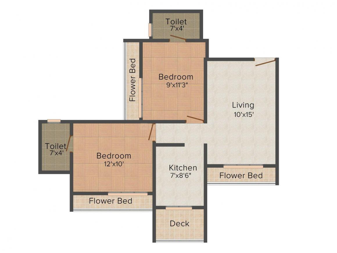 Floor Plan Image of 960.0 - 1070.0 Sq.ft 2 BHK Apartment for buy in BKS Galaxy Tricity Sky