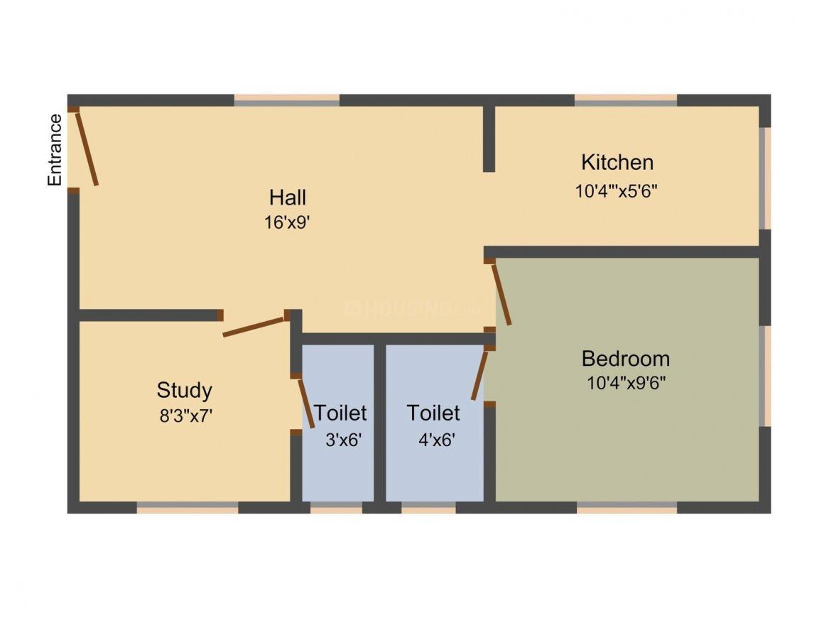 Floor Plan Image of 572.0 - 2500.0 Sq.ft 1 BHK Apartment for buy in Senthuran
