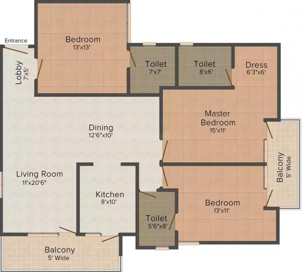 United 2760 Sec 46 Floor Plan: 3 BHK Unit with Built up area of 1100 sq.ft 1
