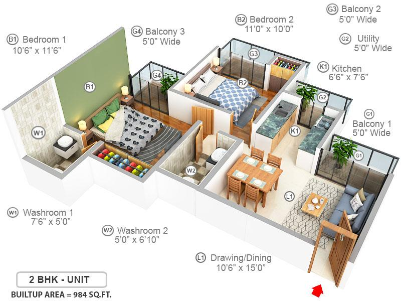 Anthem French Apartments Floor Plan: 2 BHK Unit with Built up area of 984 sq.ft 1