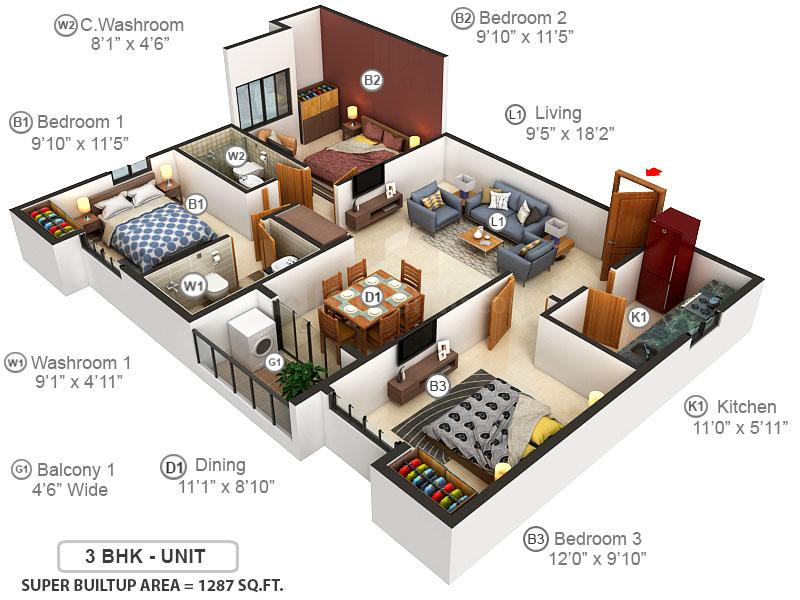 Ambika Icon Floor Plan: 3 BHK Unit with Built up area of 1287 sq.ft 1