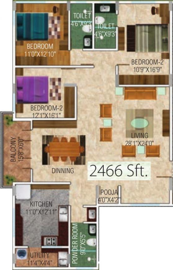 One Tree Gayathri Silver Gate Floor Plan: 3 BHK Unit with Built up area of 2466 sq.ft 1