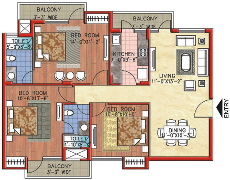 Parsvnath Exotica Floor Plan: 3 BHK Unit with Built up area of 1380 sq.ft 1