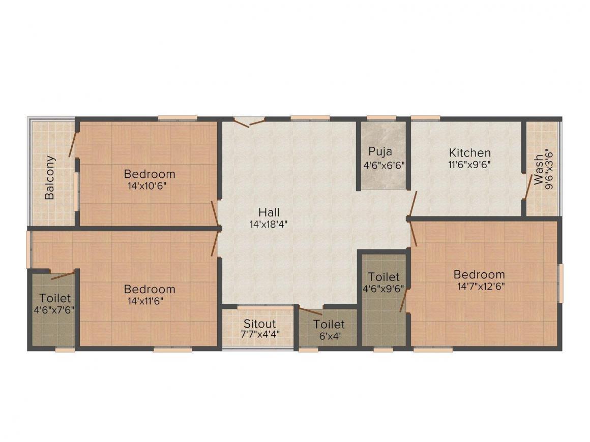 Floor Plan Image of 0 - 1300.0 Sq.ft 3 BHK Apartment for buy in Homeline Dhruva