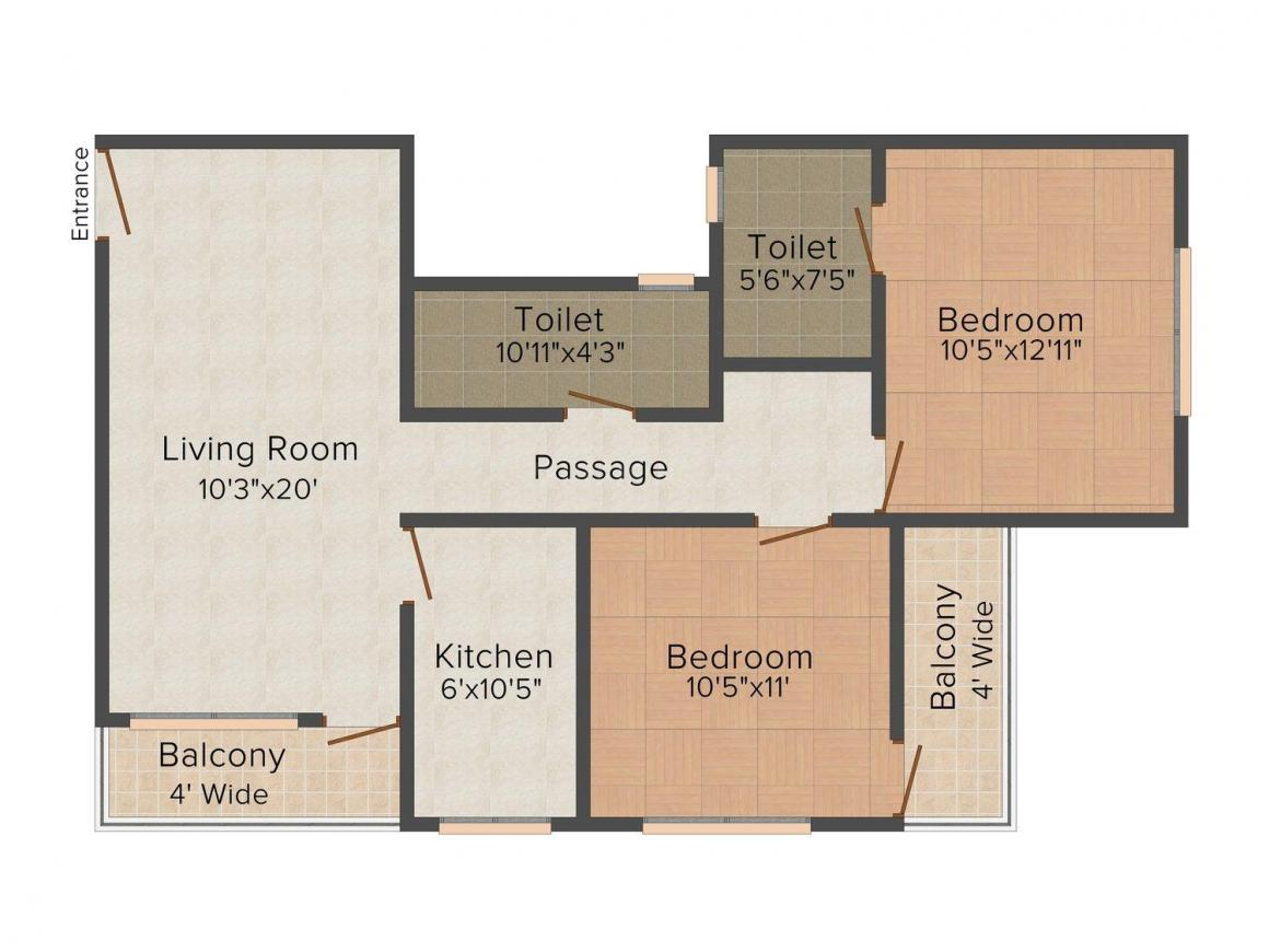 Floor Plan Image of 0 - 1008.0 Sq.ft 2 BHK Apartment for buy in Gokuldham 3