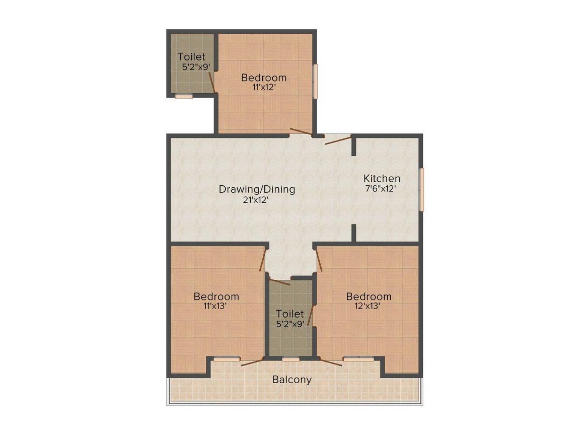 Gupta Ji Floors A - 1861 Floor Plan: 3 BHK Unit with Built up area of 1600 sq.ft 1