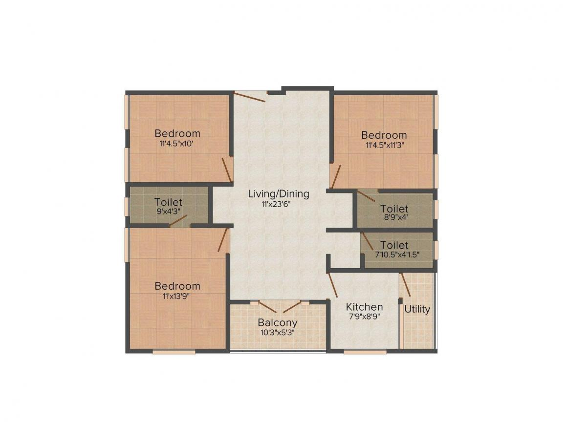 Floor Plan Image of 0 - 1293 Sq.ft 3 BHK Apartment for buy in Shree Apartments