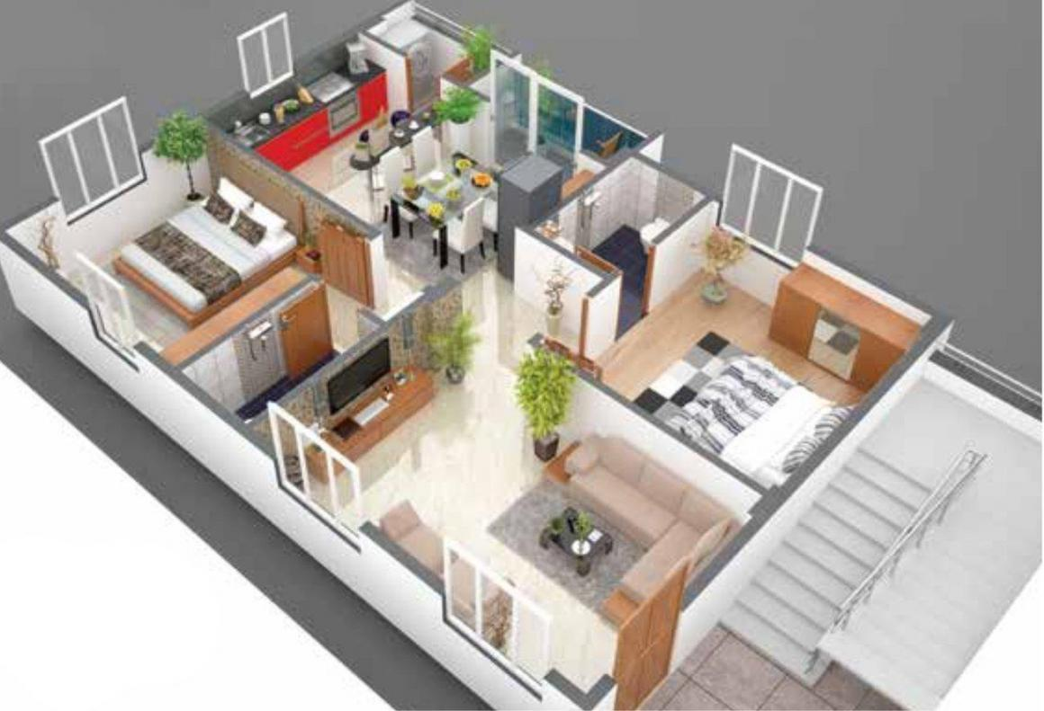 Floor Plan Image of 727.0 - 928.0 Sq.ft 2 BHK Apartment for buy in Legend Opal