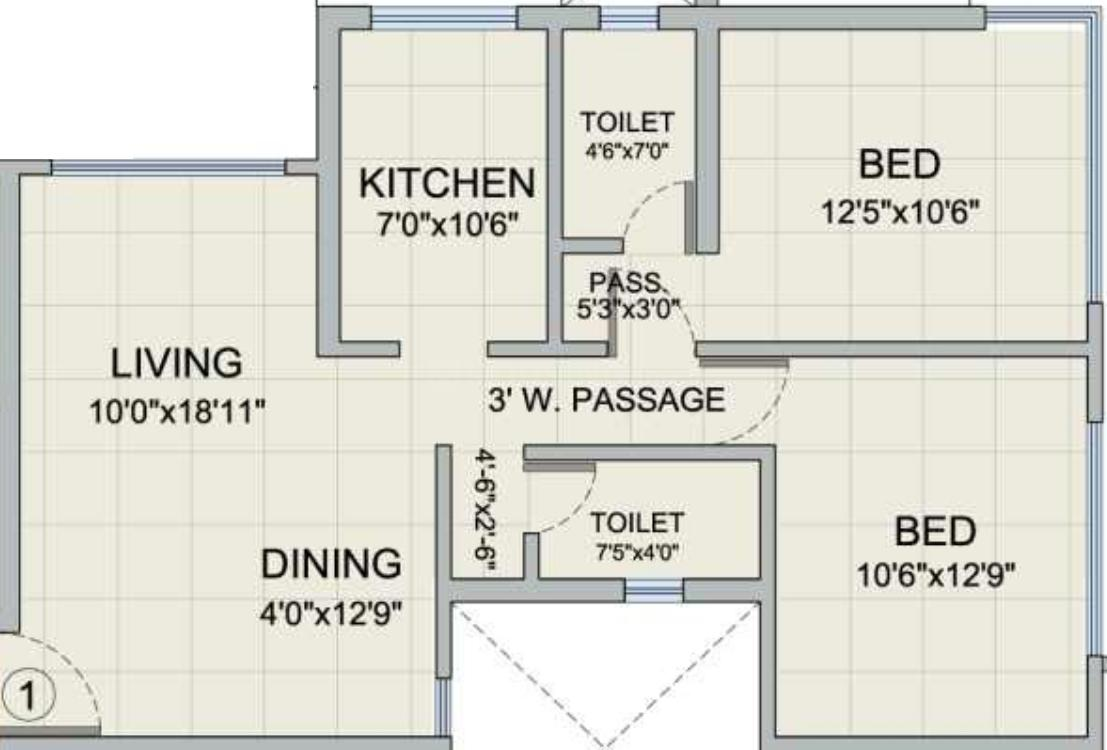 Romell Diva Apartments Floor Plan: 2 BHK Unit with Built up area of 740 sq.ft 1