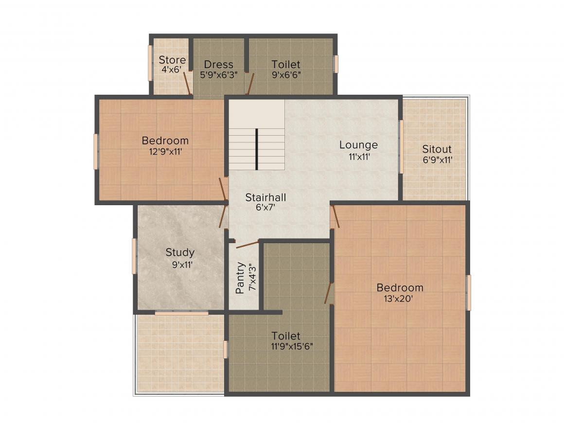 Vipul Tatvam Villas Floor Plan: 3 BHK Unit with Built up area of 3000 sq.ft 1