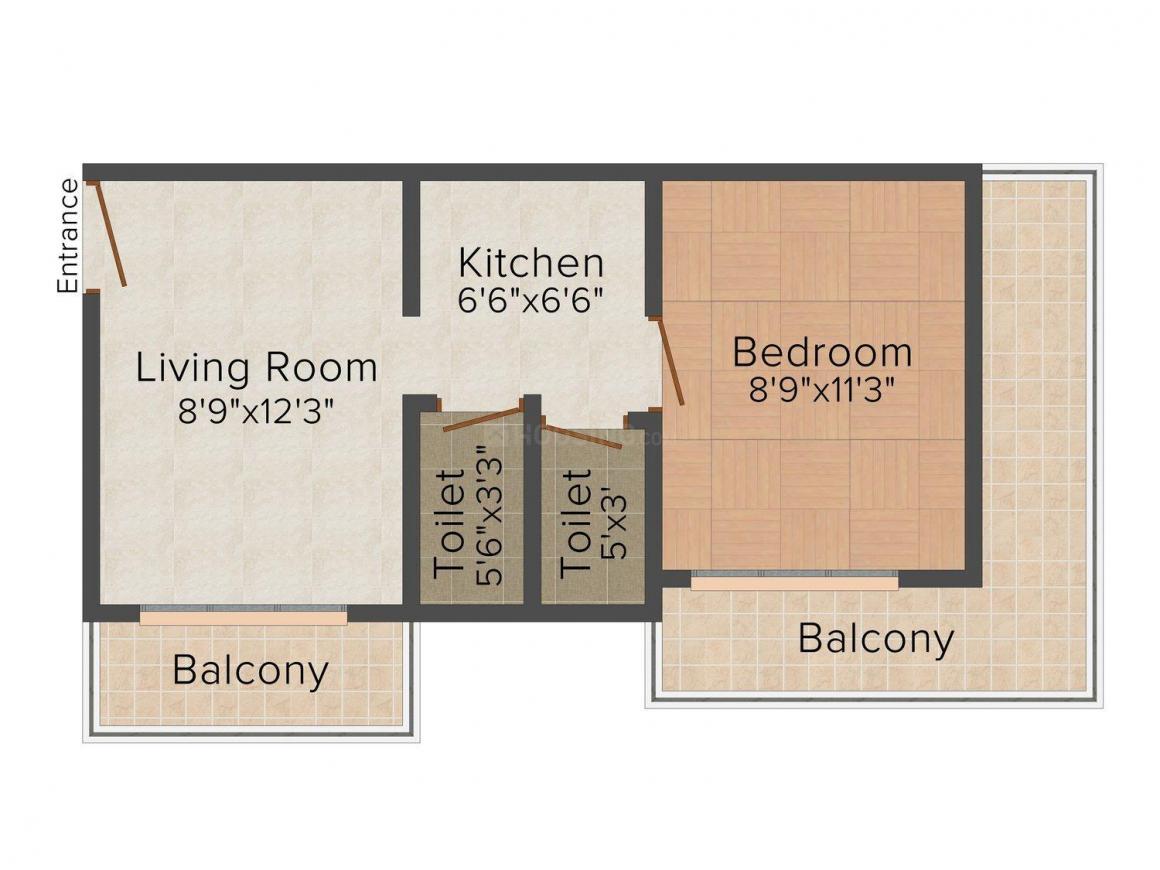 Floor Plan Image of 0 - 431.0 Sq.ft 1 BHK Apartment for buy in Shraddha Marleshwar Society