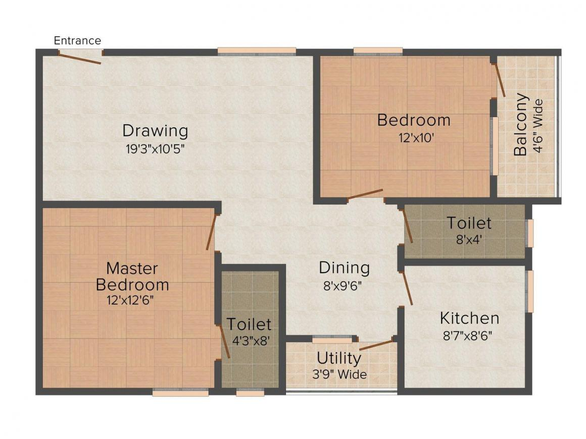 Floor Plan Image of 1100 - 1605 Sq.ft 2 BHK Apartment for buy in AR Signature My Space Akshaya