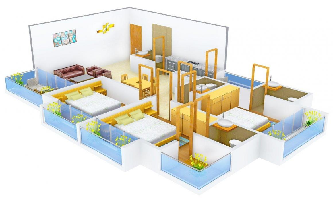 Shree Gayatri Famosa Floor Plan: 3 BHK Unit with Built up area of 1287 sq.ft 1