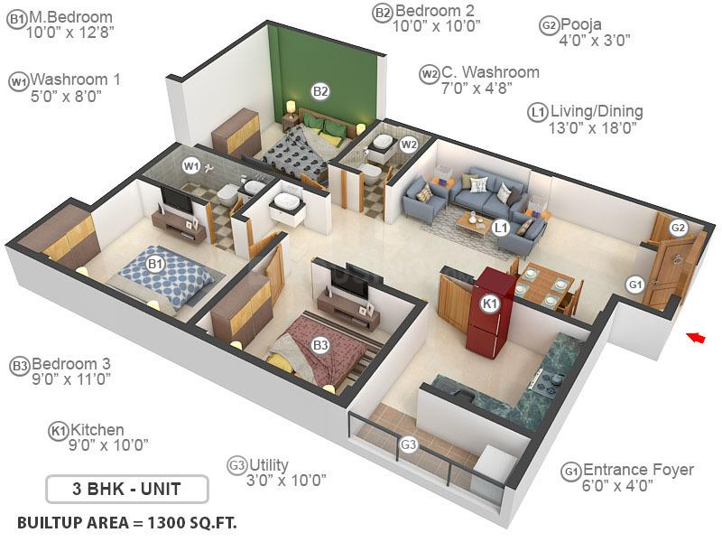 Mayalam Sri Bhalaji Nivas Floor Plan: 3 BHK Unit with Built up area of 1300 sq.ft 1