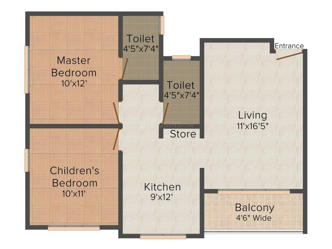 Floor Plan Image of 0 - 866.0 Sq.ft 2 BHK Apartment for buy in Perfect Saisha