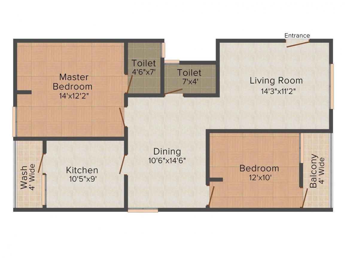 Floor Plan Image of 1160.0 - 1800.0 Sq.ft 2 BHK Apartment for buy in Rahul Grandeur