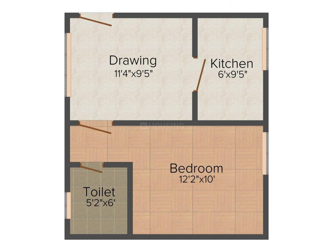 Shree Pearl Residency Floor Plan: 1 BHK Unit with Built up area of 486 sq.ft 1