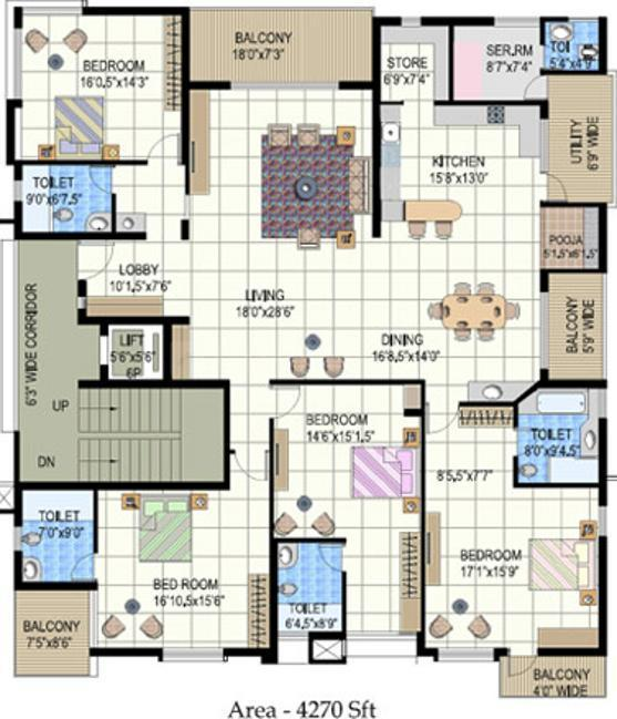 Mehta Rajeshwari Prasiddhi Floor Plan: 4 BHK Unit with Built up area of 4270 sq.ft 1