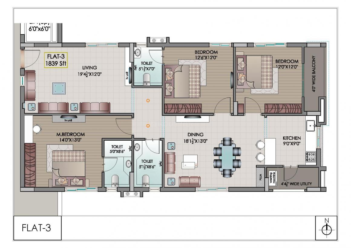 Floor Plan Image of 1839.0 - 3160.0 Sq.ft 3 BHK Apartment for buy in Riddhi Elite