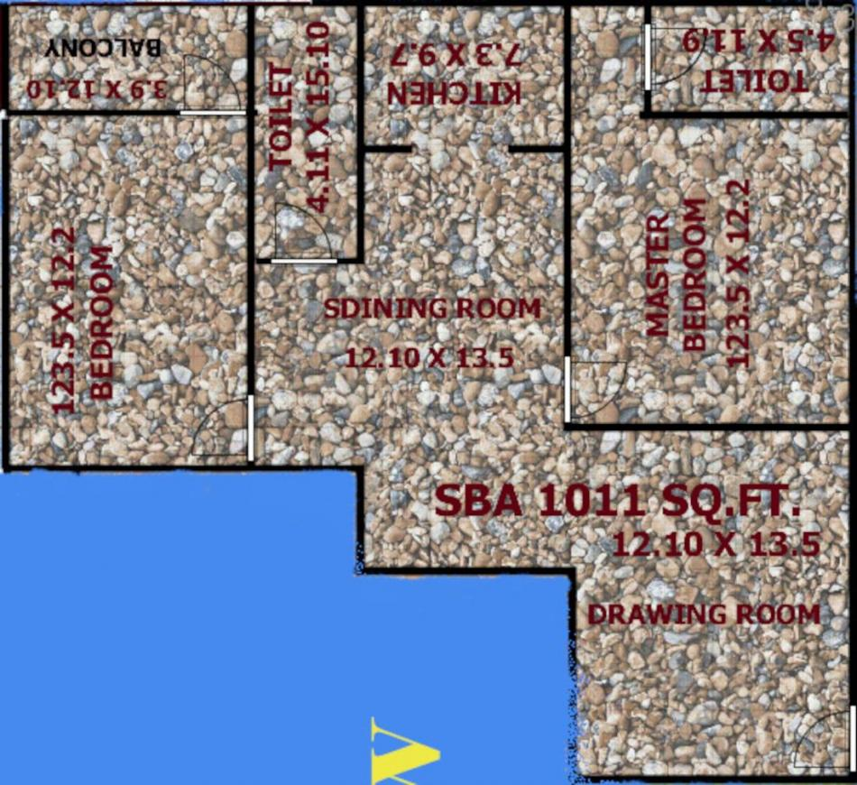 HTN Om Plaza Floor Plan: 2 BHK Unit with Built up area of 1011 sq.ft 1