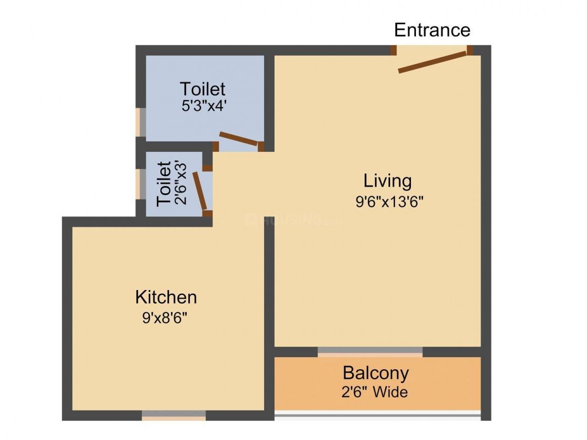 Floor Plan Image of 315.0 - 425.0 Sq.ft 1 RK Apartment for buy in Hi-Life Dev Darshan