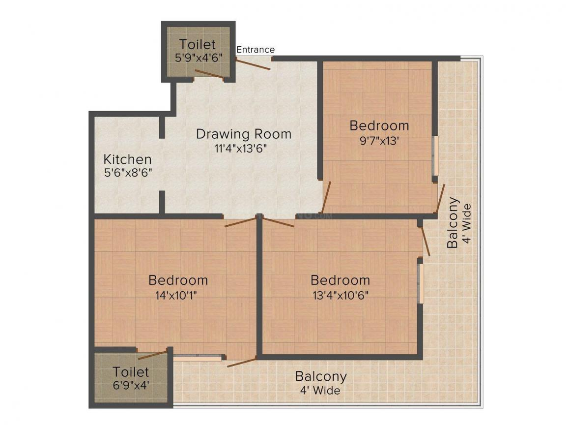 Floor Plan Image of 656 - 1013 Sq.ft 2 BHK Independent Floor for buy in Abhidev Homes-1