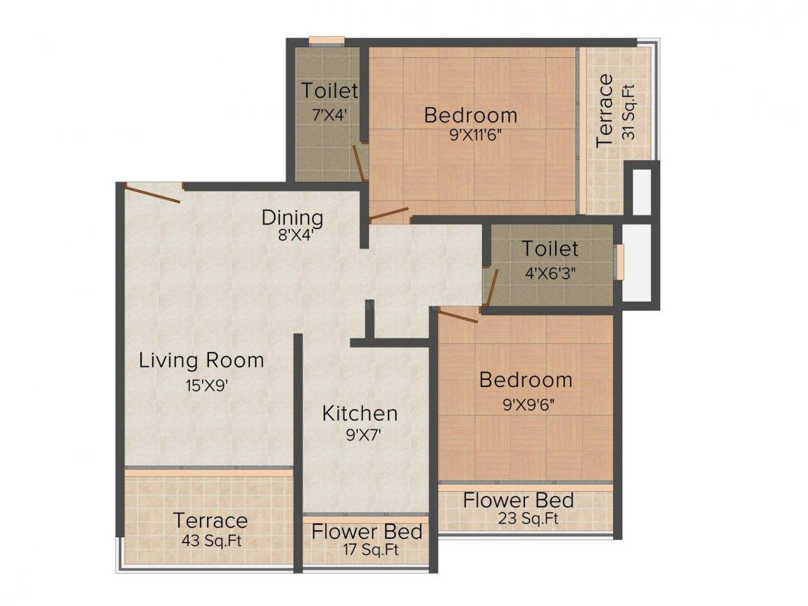 Floor Plan Image of 650.0 - 950.0 Sq.ft 1 BHK Apartment for buy in SM SM Harmony