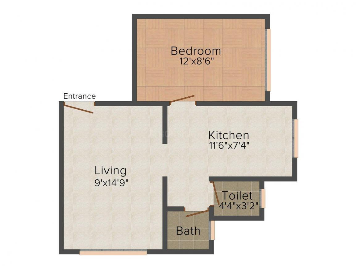 Floor Plan Image of 610 - 950 Sq.ft 1 BHK Apartment for buy in Cosmic Anmol Heights