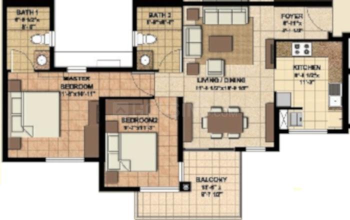 Akshaya Orlando Phase II Floor Plan: 2 BHK Unit with Built up area of 711 sq.ft 1