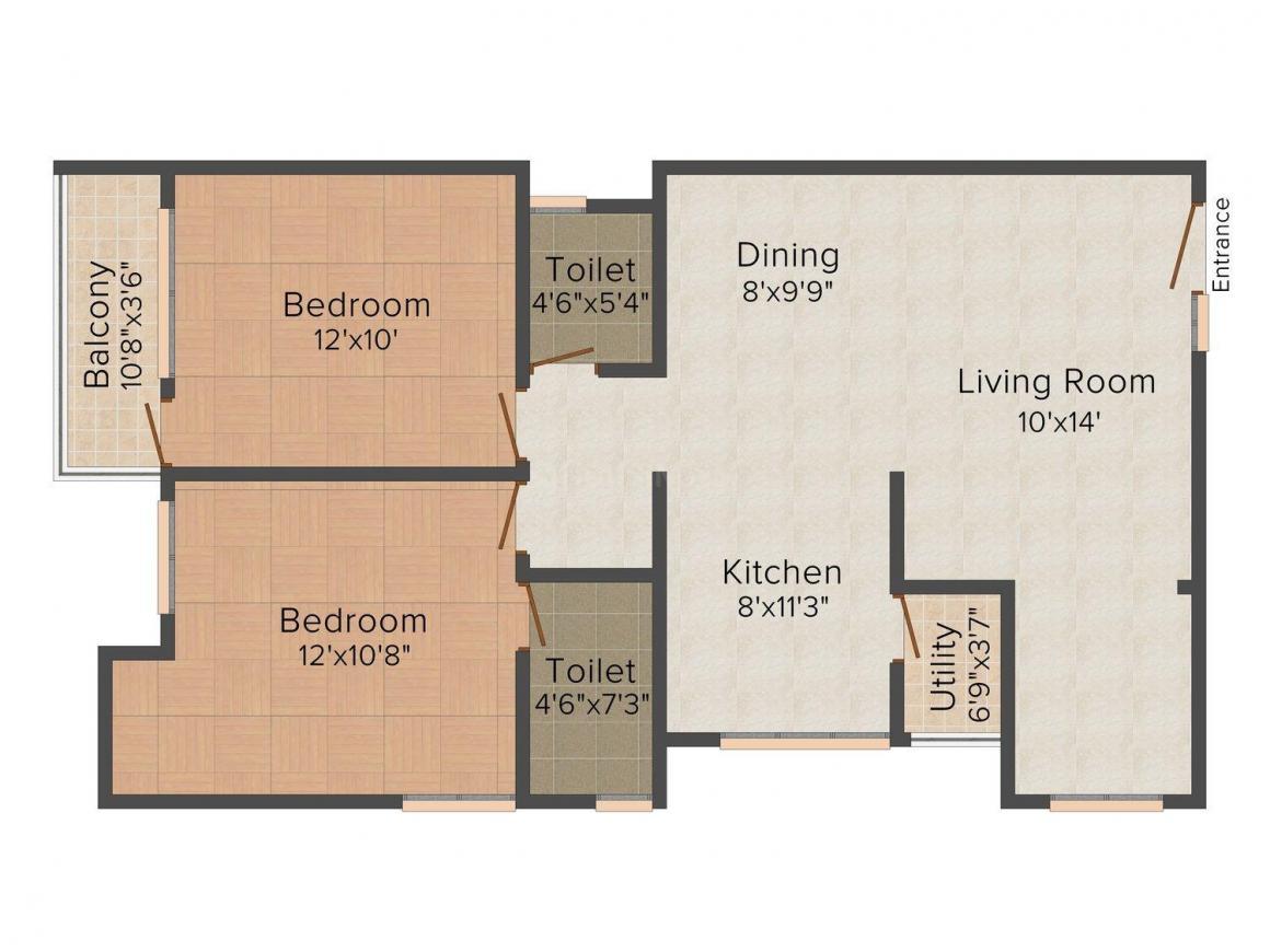 Floor Plan Image of 1123.0 - 1346.0 Sq.ft 2 BHK Apartment for buy in Vaikund Sundaram Phase 2