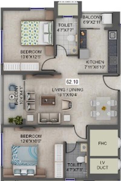 Supreme Estia Floor Plan: 2 BHK Unit with Built up area of 668 sq.ft 1