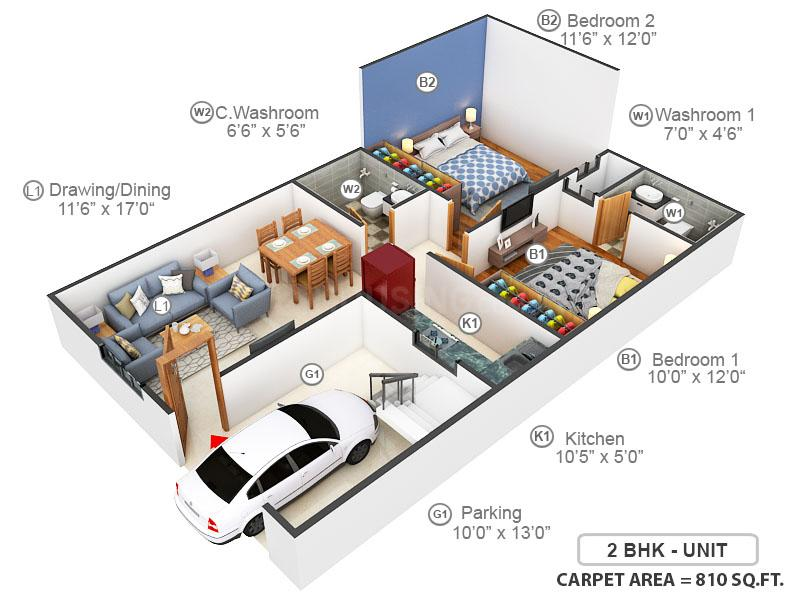 Sindhuja Valley Floor Plan: 2 BHK Unit with Built up area of 810 sq.ft 1