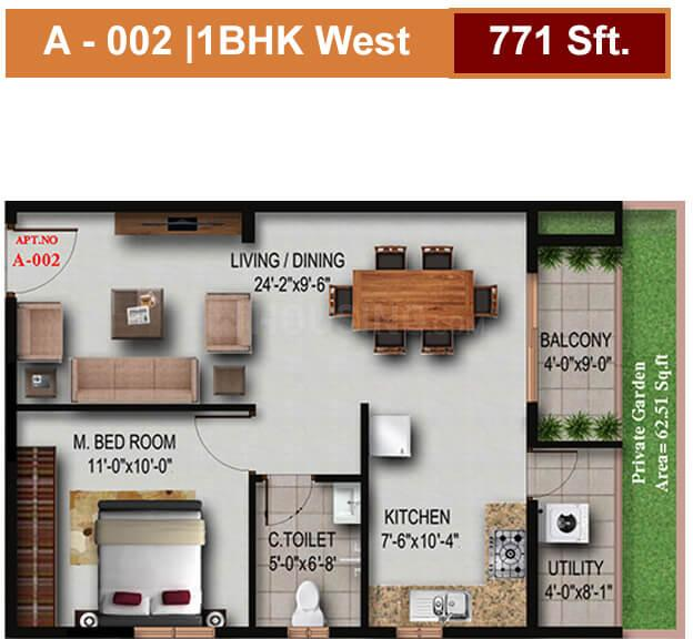 Floor Plan Image of 720 - 1480 Sq.ft 1 BHK Apartment for buy in S V Signature