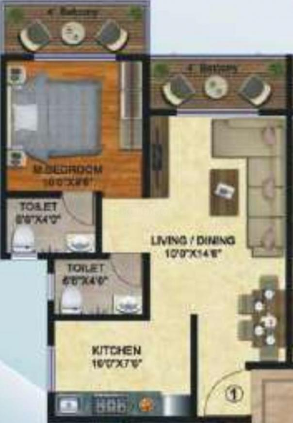 Apex Lake View Floor Plan: 1 BHK Unit with Built up area of 41.34 sq.mt 1