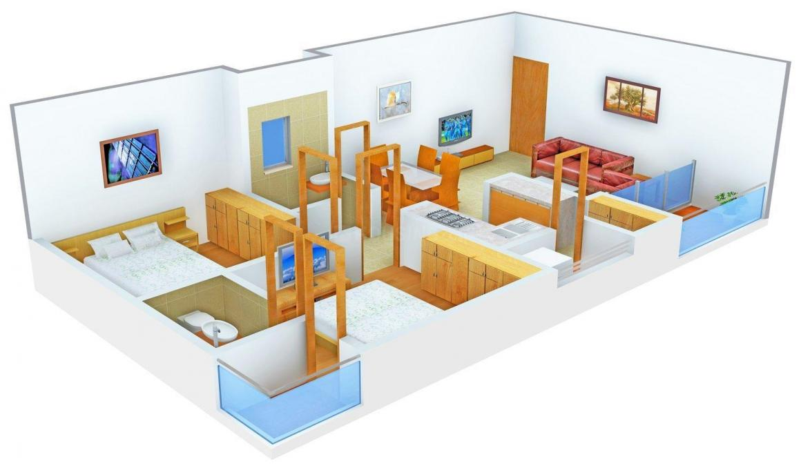 Sudarshan Elegance Floor Plan: 2 BHK Unit with Built up area of 1332 sq.ft 1