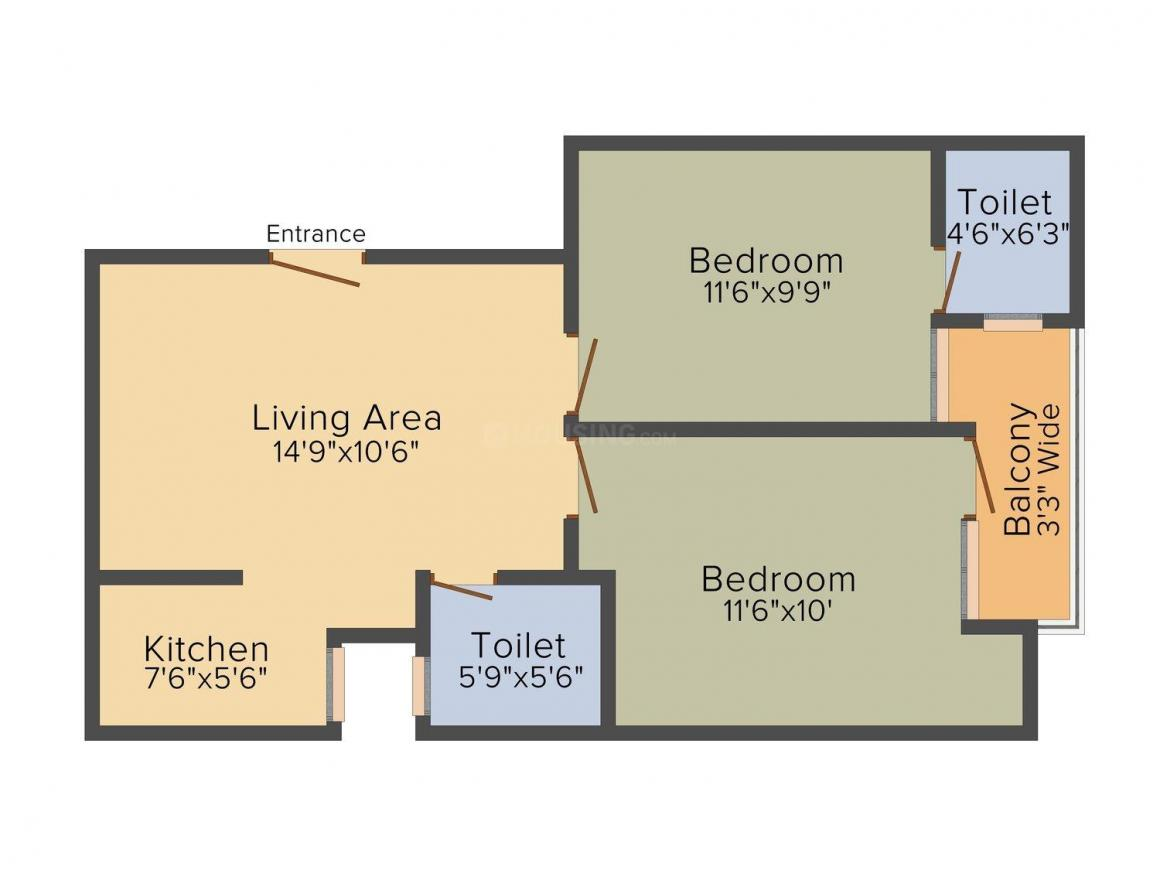 Floor Plan Image of 540.0 - 765.0 Sq.ft 2 BHK Builder Floor for buy in Citi Floors -1