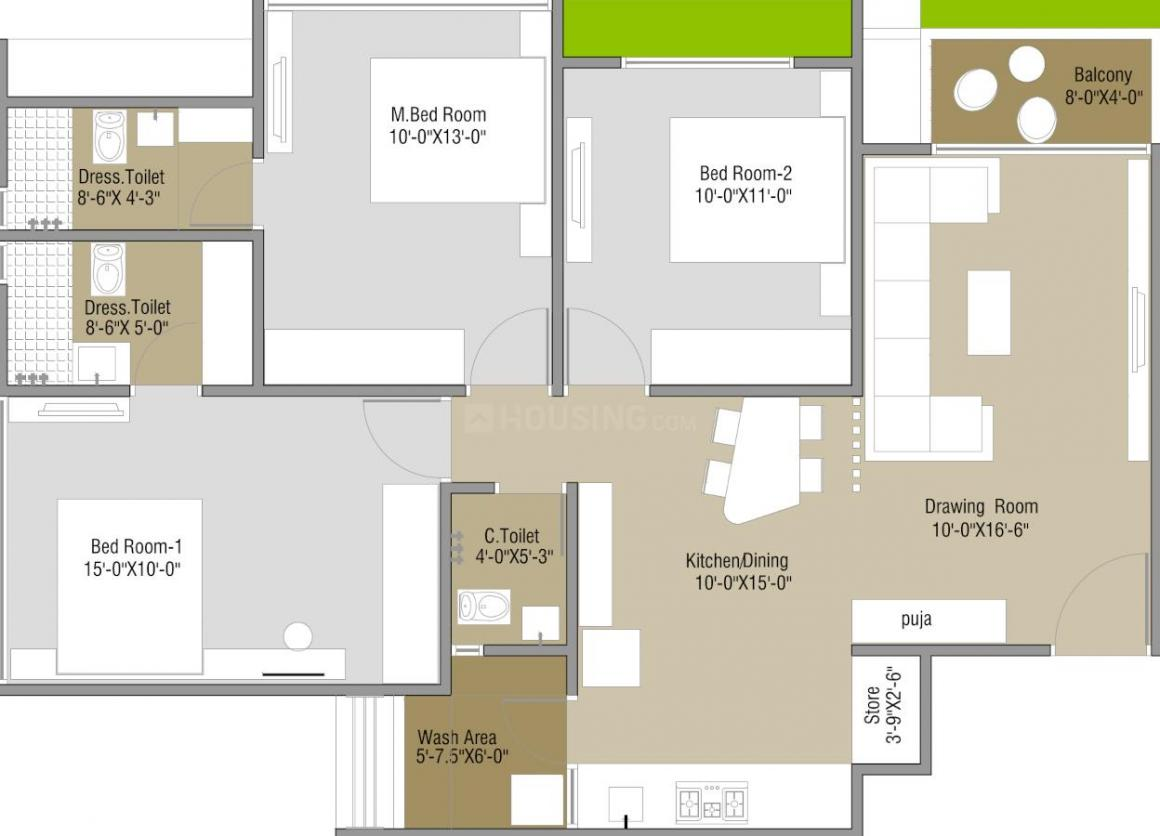 Elenza Elenza Greenfield Floor Plan: 3 BHK Unit with Built up area of 859 sq.ft 1