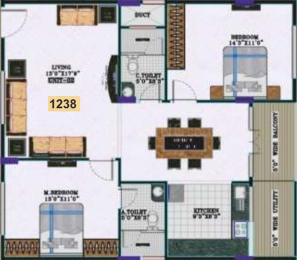 Elegant Esplande Floor Plan: 2 BHK Unit with Built up area of 1238 sq.ft 1